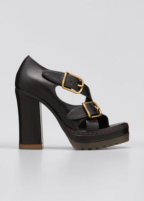 Chloé Daisy Crisscross Buckle Chunky-Heel Sandals