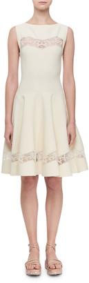 Alaia Raffia-Embroidered Sheer Panel Dress, White