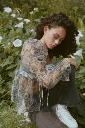Urban Outfitters Lost In Thought Toile Babydoll Blouse