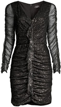 Parker Black Cynthia Glittered Ruched Mini Dress