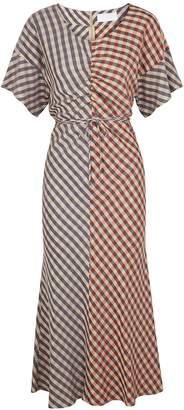 BOSS Dandira Checked Twill Midi Dress