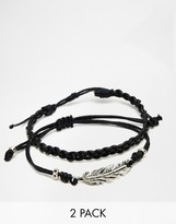 Asos Leather Bracelet Pack With Feather
