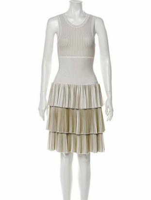 Alaia Striped Knee-Length Dress Green