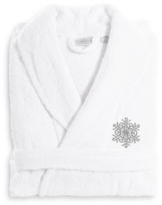 Linum Home Textiles Embroidered Luxury and Terry Bathrobe - Snow Flake Bedding