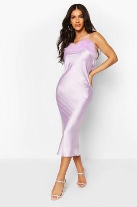 boohoo Feather Trim Bias Cut Slip Dress
