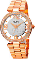 Burgi Womens Rose-Tone Etched Rose Dial Watch