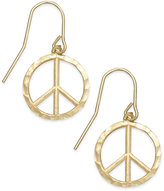 Macy's Diamond-Cut Peace Sign Drop Earrings in 10k Gold