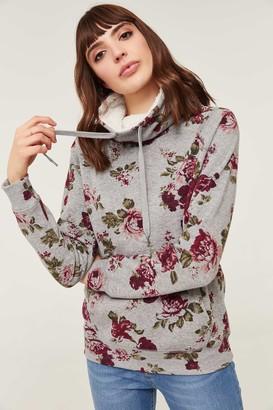 Ardene Floral Faux Sherpa Lined Cowl Neck Sweatshirt