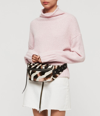 AllSaints Captain Leather Zebra Fanny Pack