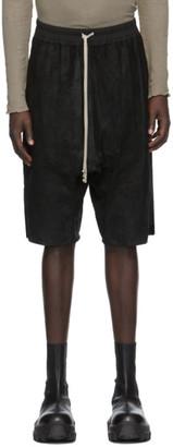 Rick Owens Black Blistered Leather Basket Swinger Shorts