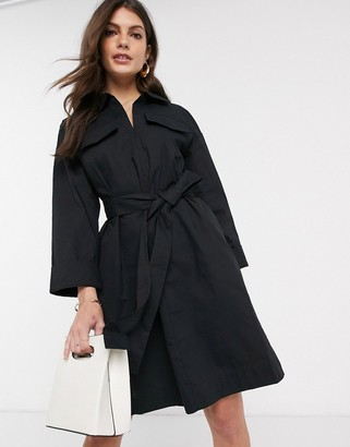 French Connection briella cotton shirt dress in black