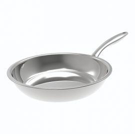 Kuhn Rikon 28 Cm All Stainless Steel Swiss Multiply Frying Pan - Silver