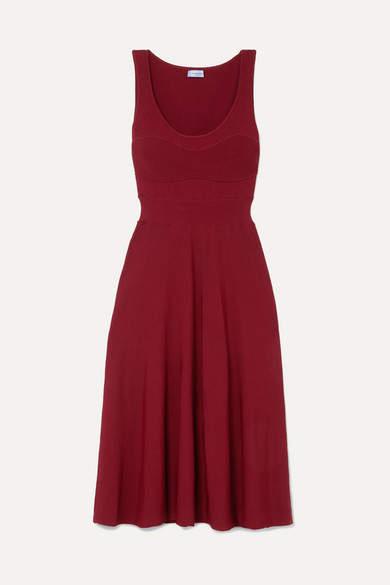Thierry Mugler Ribbed Jersey Midi Dress - Red