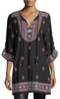 Tolani Pooja 3/4-Sleeve Embroidered Tunic, Plus Size