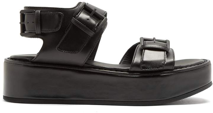 Ann Demeulemeester Double-strap leather flatform sandals
