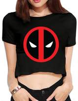 Agongda T-shirts Women's Wade Wilson Deadpool Crop Top Navel T Shirt