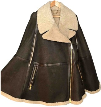 Burberry Brown Leather Coat for Women