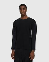 Issey Miyake Homme Plissé Homme Plisse Men's Basic Long Sleeve T-Shirt in Black, Size 2 | 100% Polyester