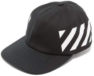 Off-White Off White Diagonal Stripe-logo Cotton Baseball Cap - Mens - Black
