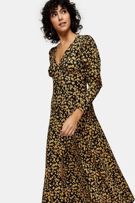 Topshop Mustard Ditsy V Neck Textured Midi Dress