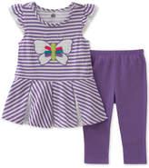 Kids Headquarters 2-Pc. Butterfly Tunic & Capri Leggings Set, Little Girls