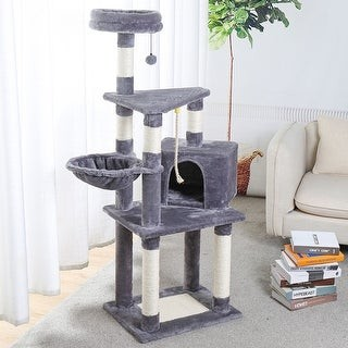 Merax 53-Inch Cat Tree Cat Condo with an Extra-Large Scratching Pad - Gray