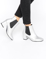 Pull&Bear Metallic Chelsea Heeled Ankle Boot