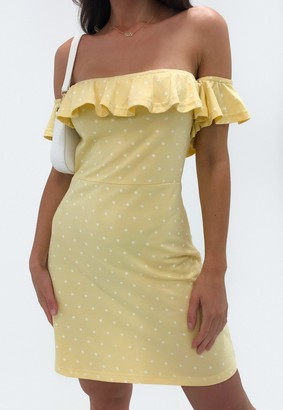 Missguided Lemon Polka Dot Bardot Frill Skater Mini Dress