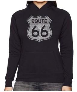 LA Pop Art Women's Word Art Hooded Sweatshirt -Cities Along The Legendary Route 66