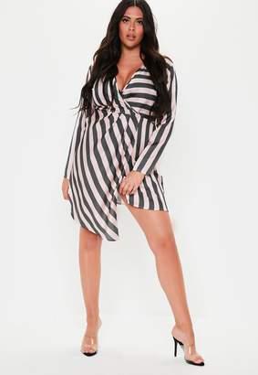 Missguided Plus Size Pink Stripe Satin Wrap Midi Dress