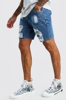 boohoo Mens Blue Slim Fit Heavily Distressed Denim Shorts, Blue