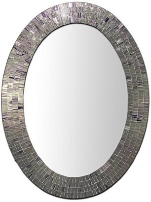 "Decorshore Bohemian Rhapsody Glass Mosaic Decorative Wall Mirror, Violet, 32.5""x2"