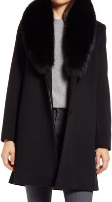 Fleurette Wool Coat with Genuine Fox Fur Collar