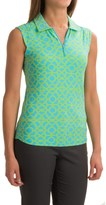 ICIKULS Lattice Print Polo Shirt - UPF 50, Sleeveless (For Women)