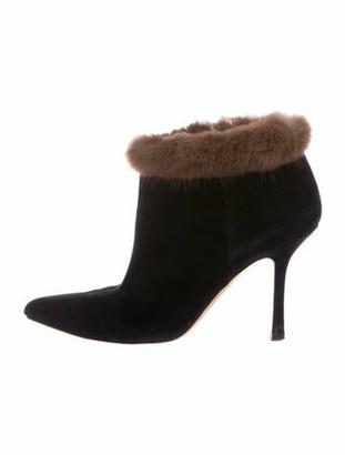 Oscar de la Renta Suede Fur Trim Boots Black