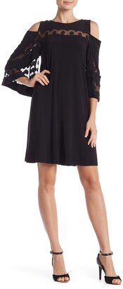 Nina Leonard 3/4 Sleeve Cold Shoulder Lace Dress