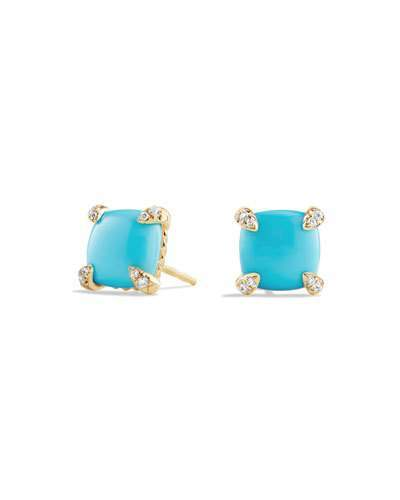 David Yurman Châtelaine 8mm Turquoise & Diamond Earrings