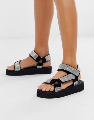 Asos Design DESIGN Frontline sporty sandals in rhinestone-Multi