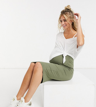 ASOS DESIGN Maternity midi pencil skirt in dark olive