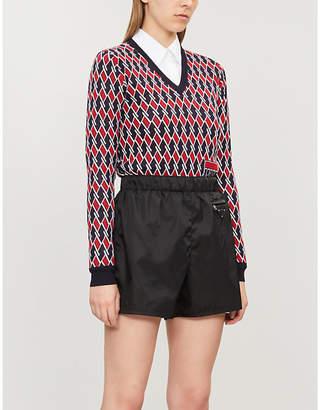 Prada High-rise nylon shorts