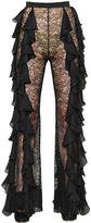 Balmain Ruffled Georgette & Lace Pants