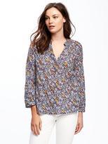 Old Navy Printed Linen-Blend Blouse for Women