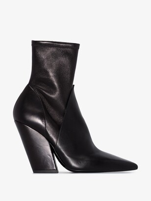 Burberry black Rose 100 leather ankle boots