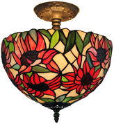 AMORA Amora Lighting AM1087HL12 Tiffany Style SunflowerCeiling Lamp