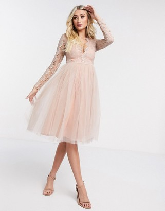 Rare London long sleeve tulle midi dress
