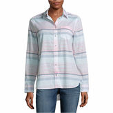 A.N.A a.n.a Long Sleeve Y Neck Woven Stripe Blouse-Talls
