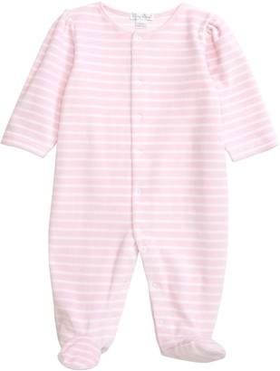 Kissy Kissy Stripe Velour Footie