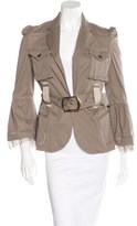 Just Cavalli Silk-Trimmed Open Front Jacket