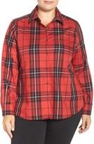 Foxcroft Plus Size Women's Tartan Wrinkle Free Shirt