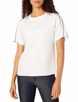 Lacoste Women's Short Fluid Cotton Blouse W/Striped Sleeves